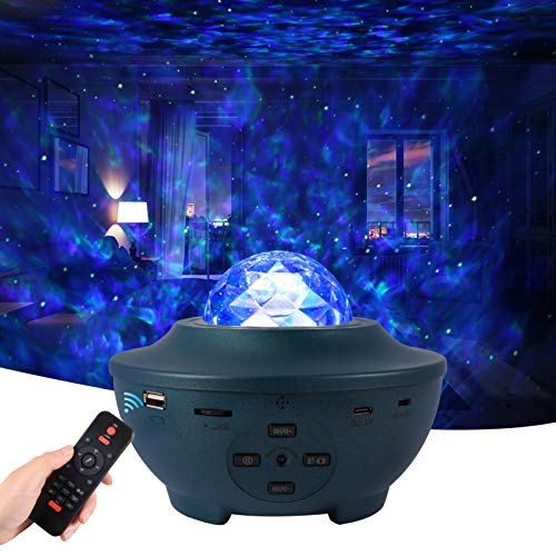VOLADOR Star Projector Night Light, Galaxy Room Projector with Bluetooth Music Speaker, Ocean Wave Ceiling Projection Light Mood Light with Remote, Timer for Kids Adults Bedroom Party - Blue