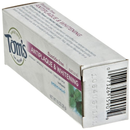Tom's of Maine Antiplaque Tartar Control plus Whitening Toothpaste, Peppermint, Trial Size 1 Ounce