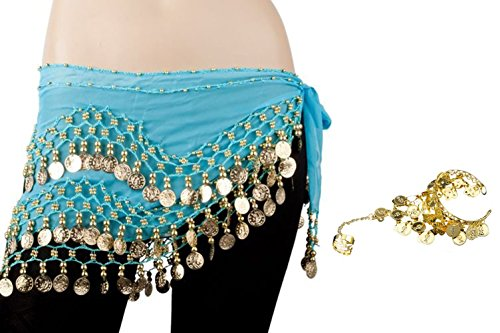 Bellylady Gold Coins Belly Dance Hip Scarf, Wholesale Dance Belt & Gypsy (Belly Dancing Coin)