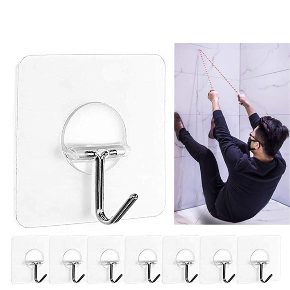 Tuscom 8pcs Wall Hooks, Transparent Reusable Seamless Hooks Waterproof Strong Clear Plastic Suction Cup Wall Hooks Utility Hooks Hanger for Home Kitchen Bathroom Wall Towel Robe (8pcs)