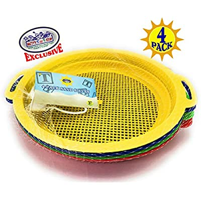 Matty's Toy Stop Sand Sifter Sieves for Sand & Beach (Red, Blue, Yellow & Green) Complete Gift Set Bundle - 4 Pack (8.75'' x 9.75