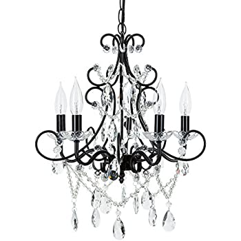 Theresa black crystal chandelier classic 5 light swag plug in glass theresa black crystal chandelier classic 5 light swag plug in glass pendant wrought iron aloadofball Image collections