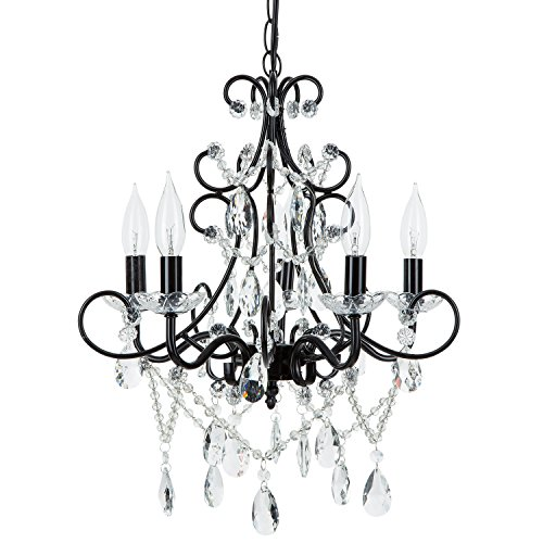 Theresa Black Crystal Chandelier, Classic 5 Light Swag Plug-In Glass Pendant Wrought Iron Ceiling Lighting Fixture Lamp