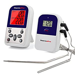 ThermoPro TP12 Wireless Digital Meat Thermometer for Grilling Oven Smoker BBQ Grill Thermometer with Dual Probe, 300 Feet Range