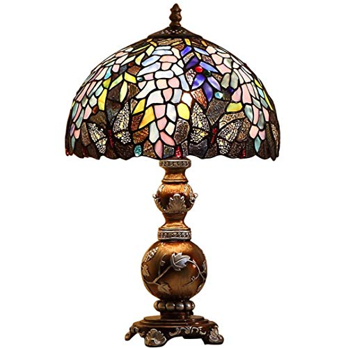 Base Carved Leaf - Tiffany Table Lamp - Handmade Stained Glass Decorative Bedside Lamp - Resin Carved Base/Flower Butterfly Leaf 12 Inch Light E27 Home Decor