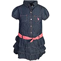 U.S. Polo Assn. Girl's Denim Style Belted Ruffle Dress