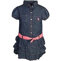 U.S. Polo Assn. Girl's Denim Style Belted Ruffle Dress