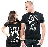 Halloween Skeleton couple maternity x-ray t-shirt pregnancy burger Men Large - Women Large