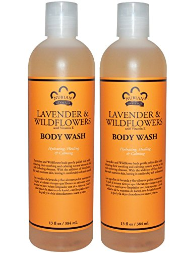 Nubian Lavender and Wildflowers Body Wash (Pack of 2) With Vitamin E and Coconut Oil, 13 fl. oz. Each