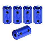 ARQQ Aluminum Alloy Joint Connector, 5mm to 8mm Flexible Shaft Coupling Rigid Stepper Motor Wheel Coupler Connector Aluminum Casing With Screw +Hexagon wrench(Pack of 5)