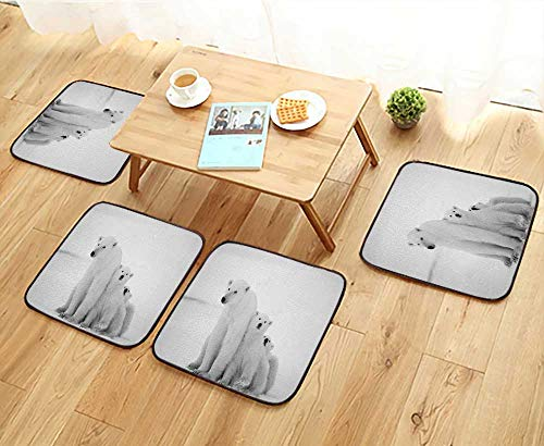 Elastic Cushions Chairs Polar she Bear with Cubs A Polar she Bear with Two Small Bear Cubs Around Snow.Black for Living Rooms W29.5 x L29.5/4PCS Set