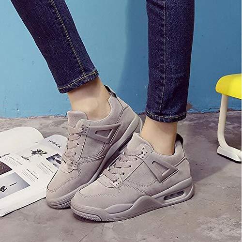 ZHZNVX Zapatos de Mujer de Piel sintética Primavera/Otoño Comfort Sneakers Creepers Black/Gray / Pink Gray
