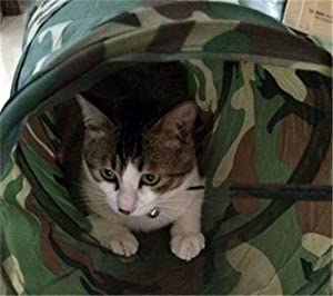 Camouflage Cat Tunnel Pet Toy Collapsible Tunnel Crinkle Kitten Fun Bell Toys