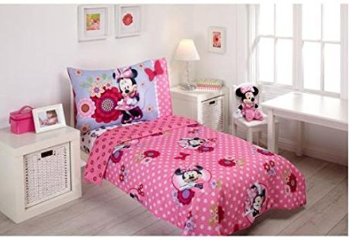 Amazon.com : Disney Minnie Mouse Bow Power 4-Piece Toddler Bedding ...