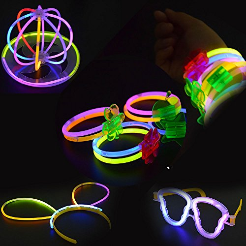 LEEHUR 10 Pack Glow Stick Accessories Party Favors Glow Brac