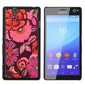 TaiTech / Prima Delgada SLIM Casa Carcasa Funda Case Bandera Cover Armor Shell Wood Texture - Modelo rosado de la tela púrpura oscuro - Sony Xperia C4