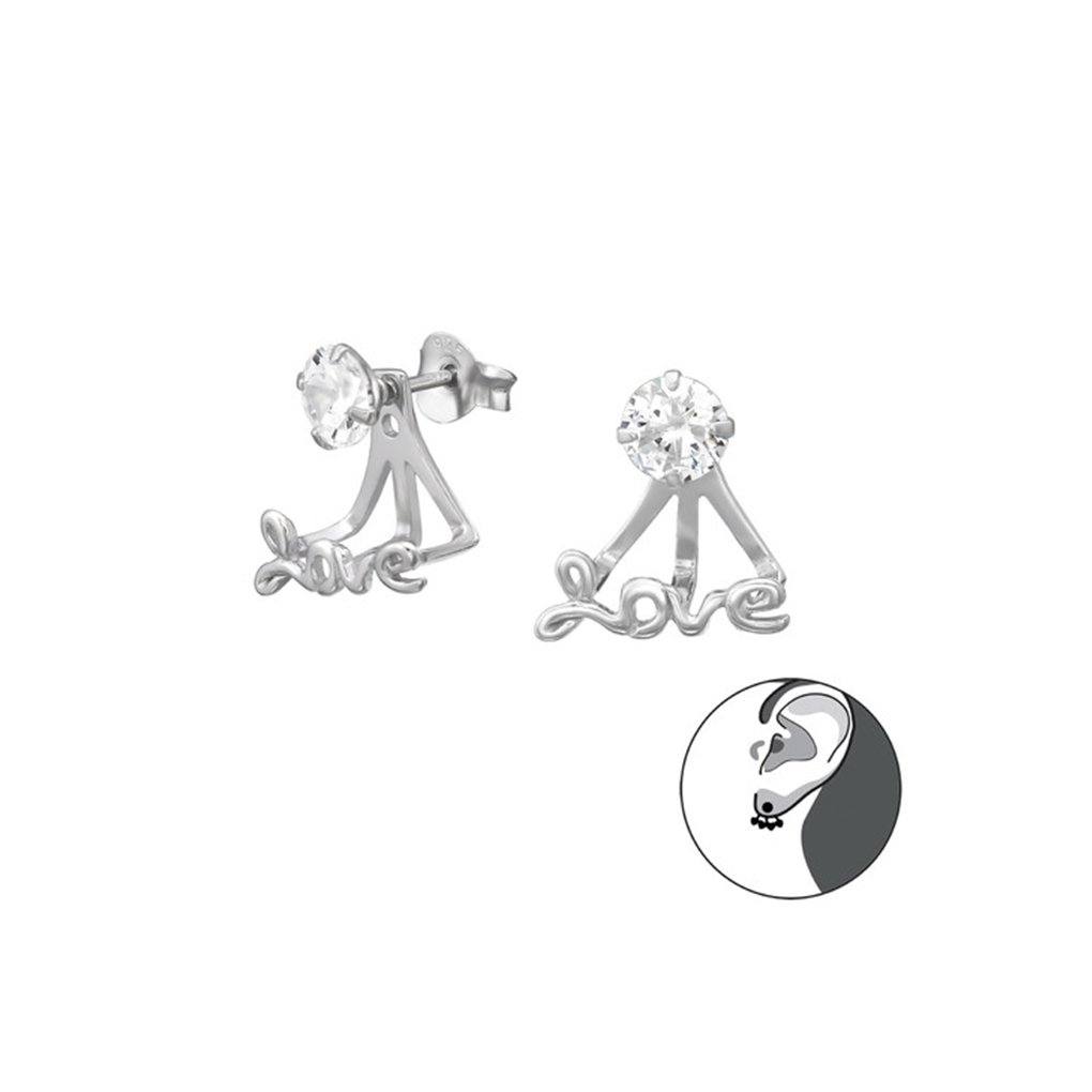 Polished And Nickel Free Heart Ear Jackets Double Earrings 925 Sterling Silver Liara