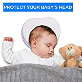 Baby Pillow for Flat Head,100% Organic Breathable Cotton, Memory Foam, Prevents Plagiocephaly, Newborn, Premature, Infant, Good Night Sleep, Head And Neck Support, Portable, Soft and Lightweight,