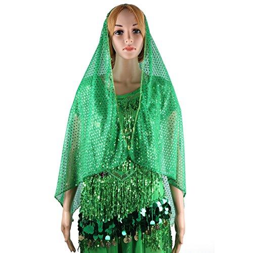 Pantalon Top Bra longue Halter echarpe Head Ceinture professionnelle SymbolLife danse costume Belly Vert de Y8Yp0q