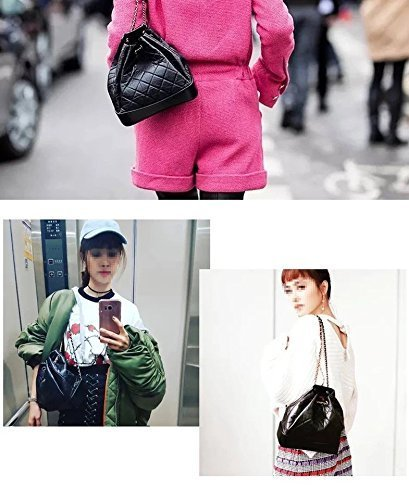 Lattice Backpack Quilted Handbag Leather ALINS Body Drawstring Chain Purses Bag Bucket Strap Cross Genuine qwOIzxRXO