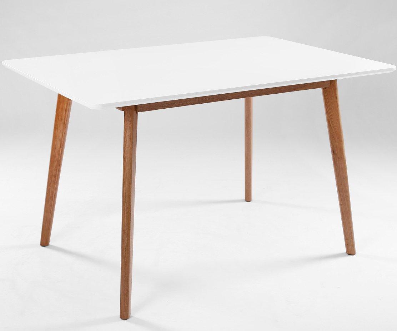 Table à manger design scandinave AIKA 120 cm x 80 cm chêne et blanc