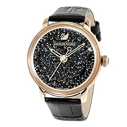 Swarovski Crystalline Hours Armbanduhr für Frauen, schwarzes Lederarmband, schwarzes Kristall, rotgold glänzendes PVD-Finish 2