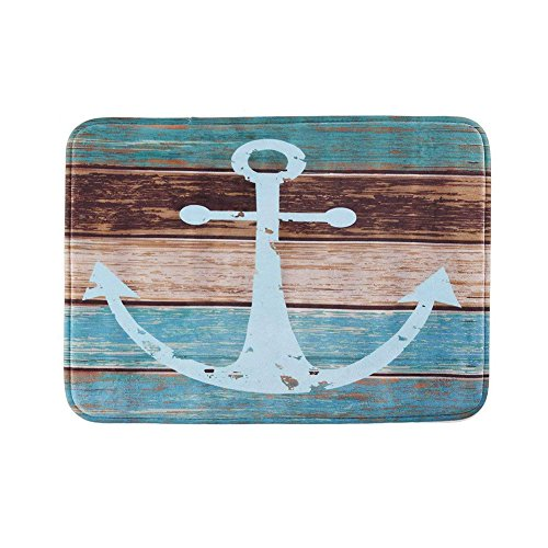 Uarter Vintage Retro Nautical Anchor Bathroom Rug Anti-Slip Kitchen Mat Soft Absorbent Floor Bath Carpet with Non-Slip SBR Backing, ()