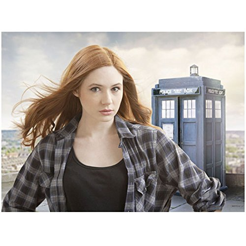 Karen Gillan as Amy Pond in a Dr. Who TV Promo with a police box 8 x 10 Inch Photo