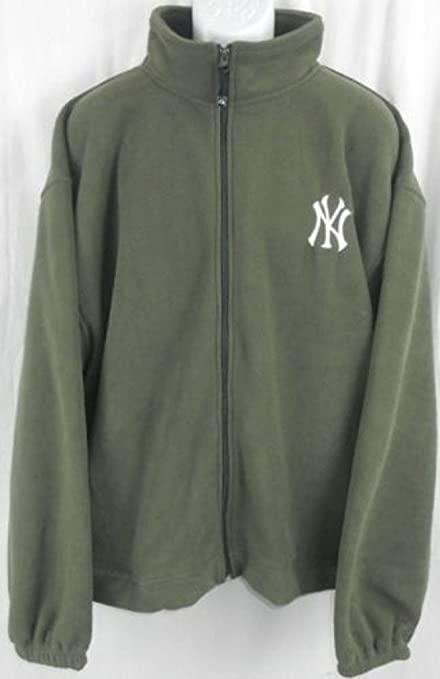 online retailer c3212 dc1e0 Majestic New York Yankees MLB Mens Embroidered Logo Full Zip Olive Green  Fleece Big Sizes