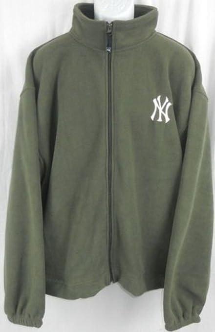 online retailer f0370 02faa Majestic New York Yankees MLB Mens Embroidered Logo Full Zip Olive Green  Fleece Big Sizes