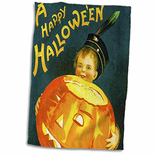 3dRose Vintage Halloween Little Witch and Her Black Cat and Pumpkin Towel ()