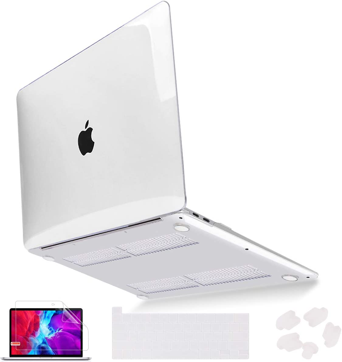 Mektron for MacBook Pro 13 Case 2020 A2289 A2251, Crystal Hard Shell Case for Newest MacBook Pro 13 inch with Touch Bar & Touch ID w/Keyboard Cover & Screen Protector, Clear