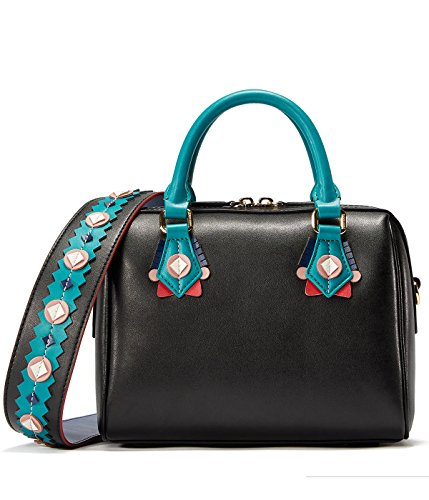 EMINIHOUSE Women's Nappa Leather Top Handle Handbag Niche Chic Indian Style Boston Purse Shoulder Bag Black