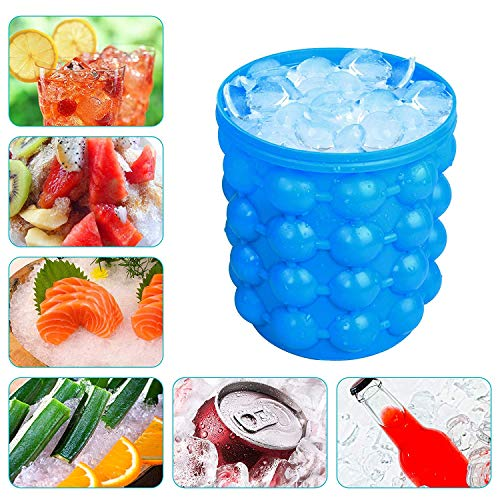 ilicone Ice Bucket & Ice Mold with lid,Silicon Ice Cube Maker Genie, Portable Silicon Ice Cube Maker (Blue) (Blue) ()