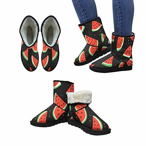 Snow Boots Da Donna Di Interestprint Angurie Su Fondo Nero Con Puntini Gialli Stivali Invernali Comfort Dal Design Unico Multi 1