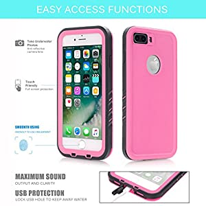 "Floating Waterproof Case for iphone 7 plus with 2 Float Straps and Fisheye lens and Kickstand GUYO Swimming Cover with Touch ID Clear Sound and Touch Screen with IP68 Cover (Pink for i7P- 5.5"")"