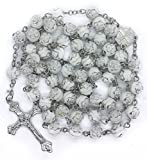 White Roses Acrylic Beads Rosary Catholic Necklace Metal Jerusalem Centerpiece Medal With Cross