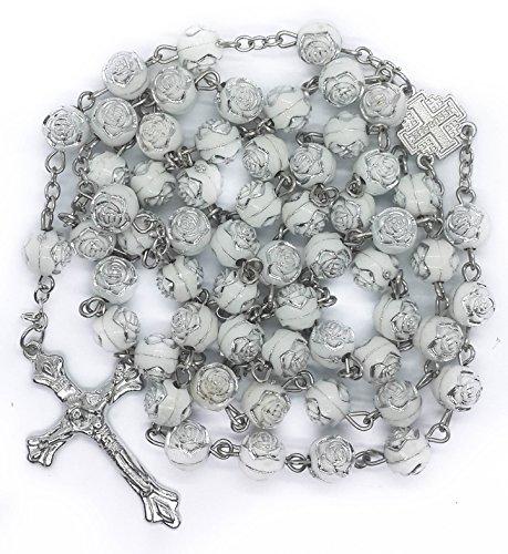 (White Roses Acrylic Beads Rosary Catholic Necklace Metal Jerusalem Centerpiece Medal With)