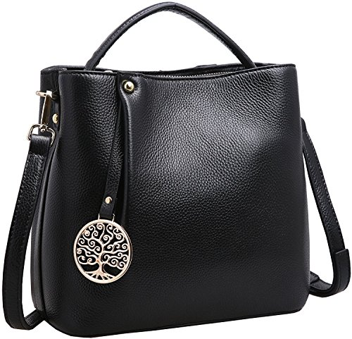 Iswee Women's Genuine Leather Bucket Bag Small Tote Purse Top Handle Handbag Crossbody Shoulder Bag Messenger Bag for Women (Black)