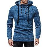 ZYEE Mens Long Sleeve Autumn Winter Button Cap Casual Suits Sweatshirt Blouse Top