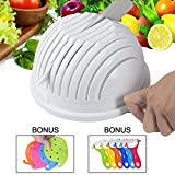 Salad Cutter Bowl,Zolove Premium Salad Maker Bowl,Food Grade ABS Plastic Vegetable & Fruit Chopper Bowl with Bonus A Peeler and A Vegetable Scrubber - To Make Your Salad in 60sec Right Now (white)