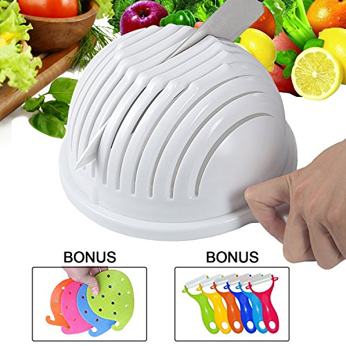 Salad Cutter Bowl,Zolove Premium Salad Maker Bowl,Food Grade ABS Plastic Vegetable & Fruit Chopper Bowl with Bonus A Peeler and A Vegetable Scrubber - To Make Your Salad in 60sec Right Now (Nugget Pedestal)