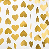 MOWO Heart Paper Garland Circle Chain Hanging Decor, 10ft, glitter gold, 2pc High quality craft paper heart garland with thread,Ideal to use as banner backdrop or tassel,cooperate with helium balloons or other hanging pom poms flower, light u...