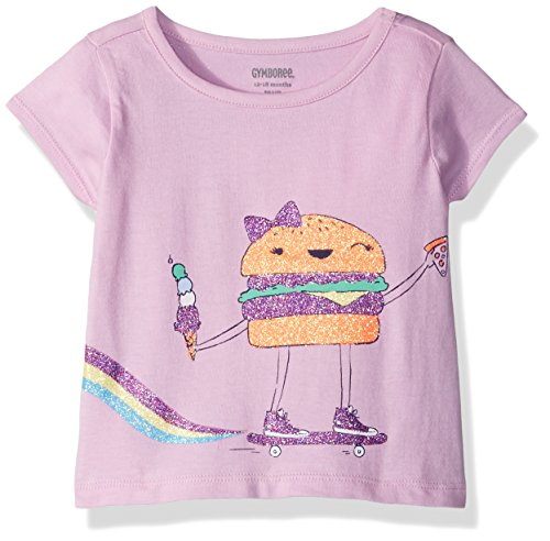 (Gymboree Girls' Toddler Short Sleeve Sparkle Graphic Tee, Blush, 12-18 Mo)