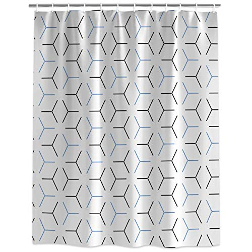 Mid Century Geometric Shower Curtains for Bathroom Art Decor, Durable Polyester Fabric Waterproof Bathtub Curtains with Hooks Bathroom Decorations, Stall 36'' x 72''
