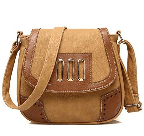 Vintage Damen Umhängetasche Handtasche Schultertasche Hit Farbe Kleine Tasche Messenger Bag khaki