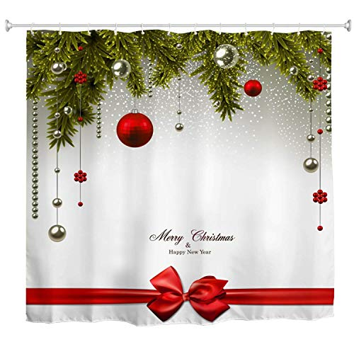Christmas Shower Curtain Set,Xmas Holiday Decoration Colorful Christmas Ornaments Pine Tree New Year Bathroom Curtain Art Print,Polyester Fabric Waterproof Bath Accessories,72x72 Inch Extra Long -