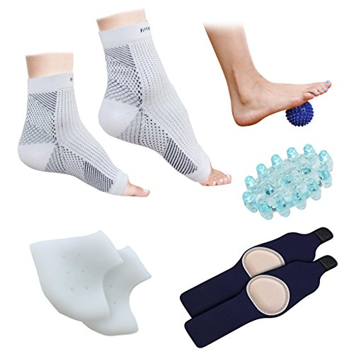 Plantar Fasciitis Foot Ankle Compression Socks Sleeve  1 Pair   Silicone Heel Protector  1 Pair   Gel Arch Support  1 Pair   Foot Massager  1 Piece    Spiky Foot Massage Ball  1 Piece     Pack Of 8