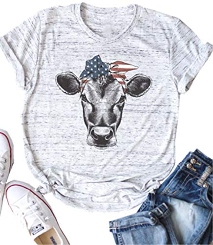 ASTANFY American Flag Cow Shirt Women's Short Sleeve Graphic Farmer Tees Summer Casual O-Neck Tops (Large, Grey) ()