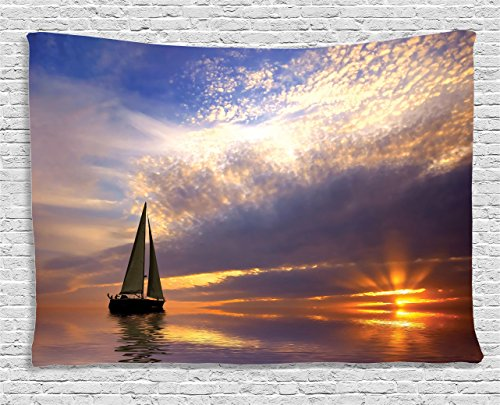 Ambesonne Sailboat Decor Tapestry, Sailing with Sunset Sunbeams on Horizon Romance Honeymoon Destination, Wall Hanging for Bedroom Living Room Dorm, 60 W X 40 L inches